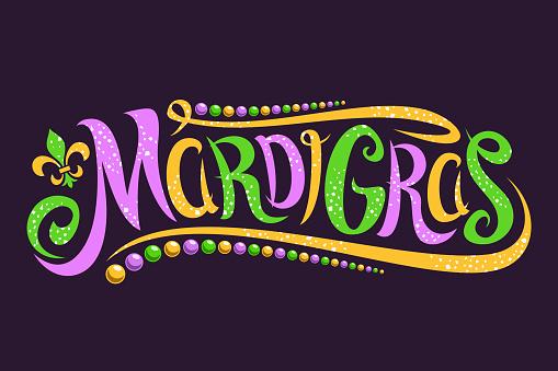 Vector lettering for Mardi Gras carnival