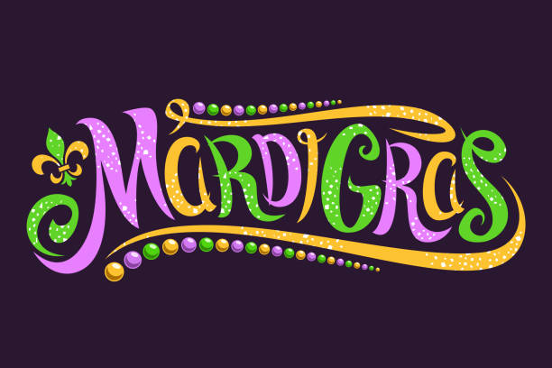 Vector lettering for Mardi Gras carnival Vector lettering for Mardi Gras carnival, filigree calligraphic font with traditional symbol of mardi gras - fleur de lis, elegant fancy label with greeting slogan, twirls and dots on dark background. mardi gras stock illustrations