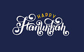 Vector lettering hand written text Hanukkah blue, white isolated. Jewish Festival of Lights celebration, festive lettering quote. Happy Hanukkah holiday greeting card template. Inscription logo design