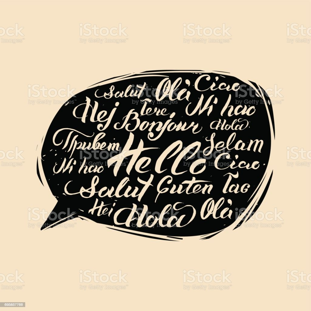 Vector lettering Hello written in different languages in speech bubble. Calligraphy international welcome inscription.