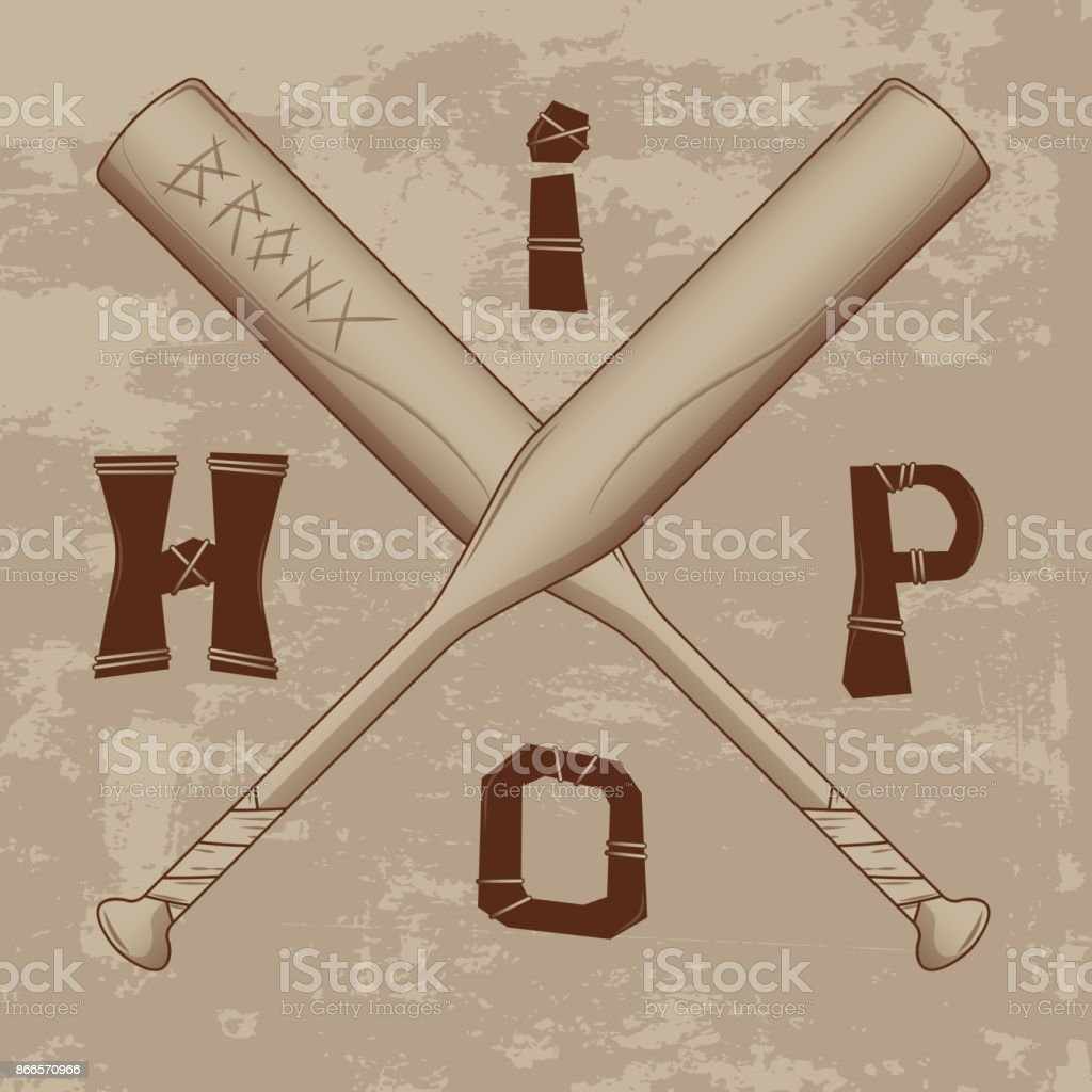 vector lettering hip hop on beige grunge background. two crossed baseball bats letters with twine. for t-shirts, poster, flyer, ticket posters, and other vector art illustration