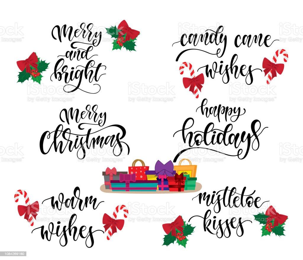 Vetores De Ilustracao Em Vetor Letras Natal Conjunto Com Frases De