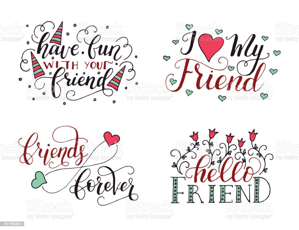 Vector Lettering Set For Friendship Day Handdrawn Unique Calligraphy