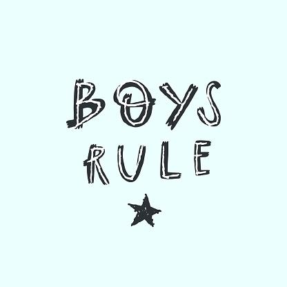 Vector lettering style handwritten text boys rule