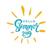 Vector lettering template Hello Summer 2019 and rays of the sun.