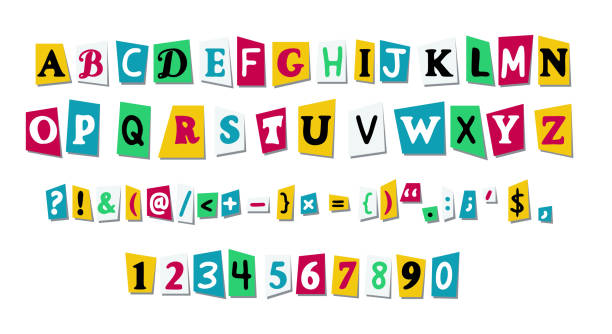 Vector letters cut paper from newspaper or magazines Vector letters cut paper from newspaper or magazines. Alphabet with capital letters, numbers, punctuation mark. Collage font print design decorative laser cut set stock illustrations
