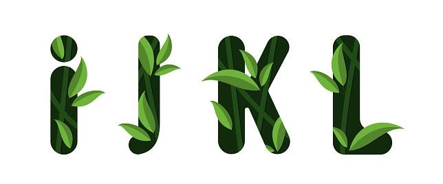 Vector letters I J K L of the alphabet. Leaf design.