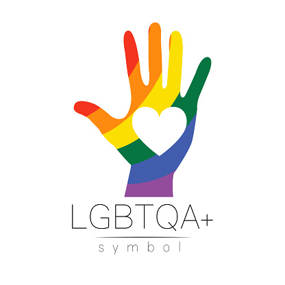 Vector LGBTQA logo symbol. Pride flag background. Icon for gay, lesbian, bisexual, transsexual, queer and allies person. Can be use for sign activism, psychology or counseling. LGBT logotype on white.