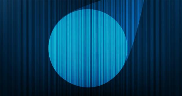 단계 조명, 높은 품질과 현대적인 스타일 벡터 라이트 블루 커튼 배경. - 무대 극장 stock illustrations