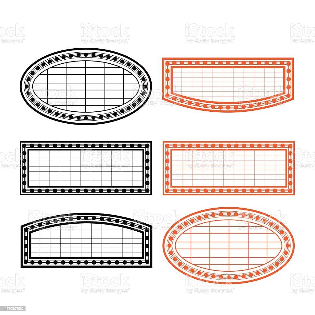 Vector light board retro style with bulb stroke style vector art illustration