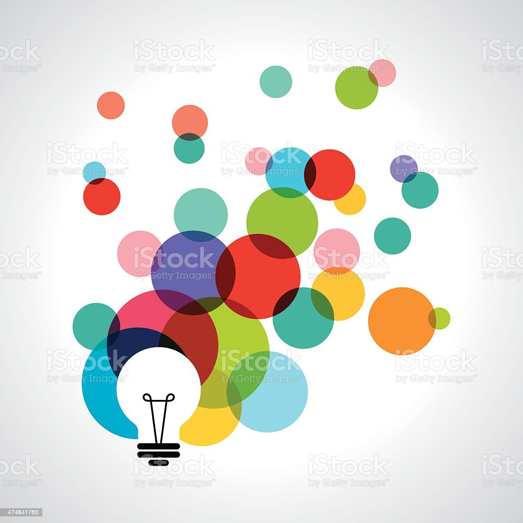 Vector light bulb icons with concept of idea. vector art illustration