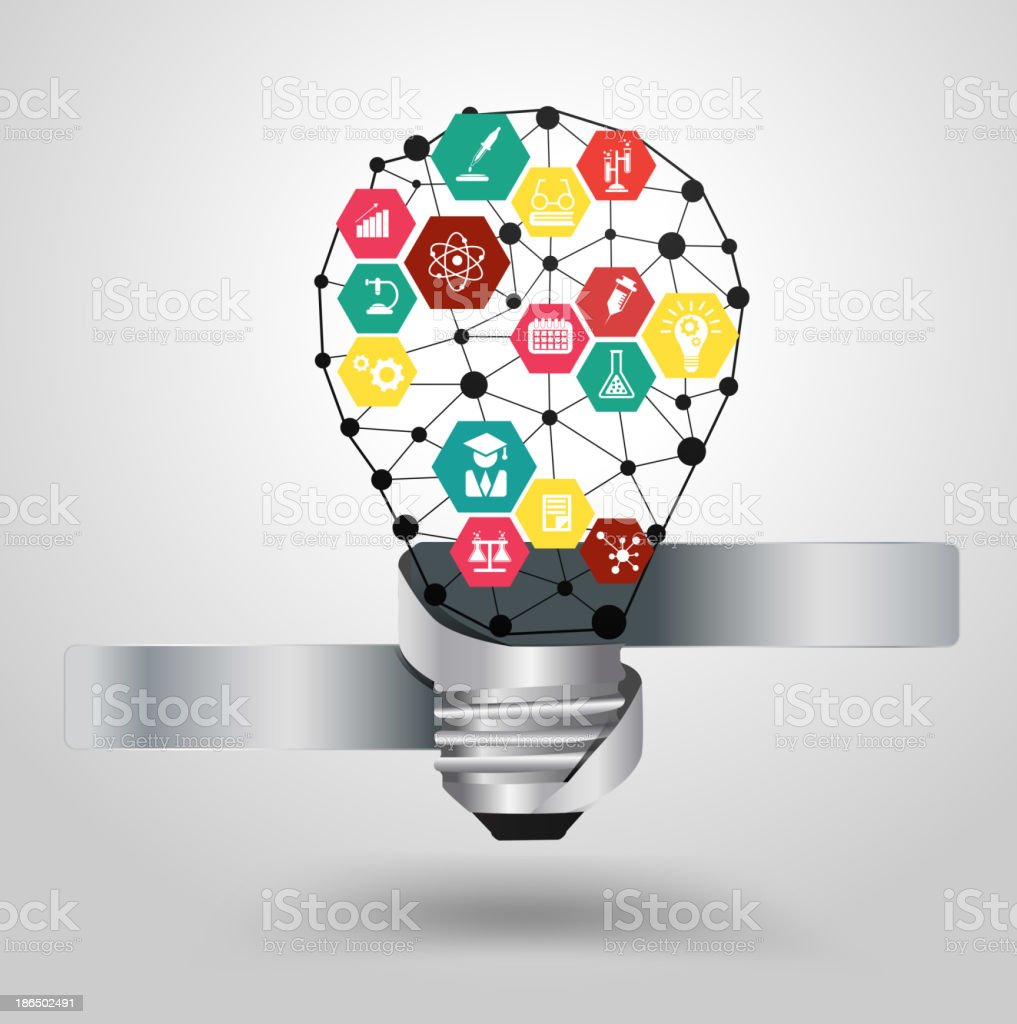 Vector light bulb idea hexagon with chemistry and science icon royalty-free vector light bulb idea hexagon with chemistry and science icon stock vector art & more images of atom