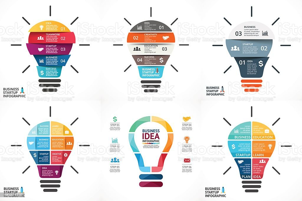 Vector light bulb infographic. Template for circle diagram, graph, presentation vector art illustration
