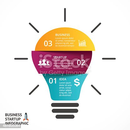 istock Vector light bulb infographic. Template for lamp diagram, graph, presentation 484905084