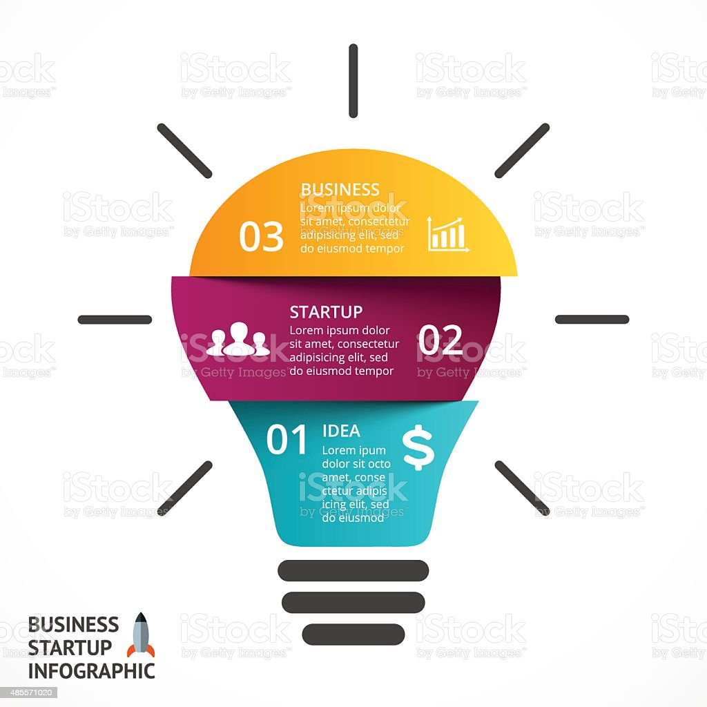 vector light bulb infographic template for lamp diagram