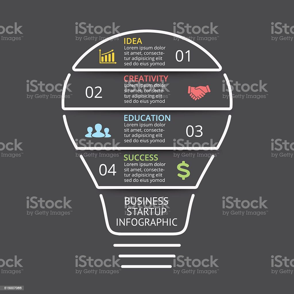 Vector Light Bulb Linear Infographic Template For Lines ...