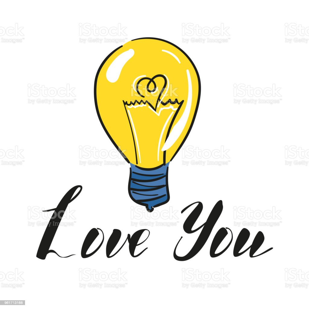 Vector Light Bulb Symbol Of Heart And Love Symbol Of Innovation And