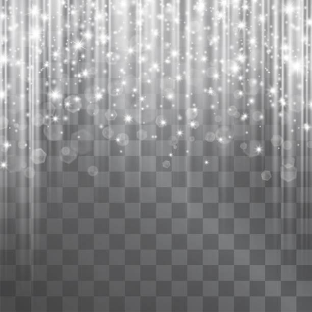 ベクトル ライト効果、輝くつららカーテン ヘイローします。魔法のきらびやかな輝きを落ちています。透明な背景に照明デザイン。壊れやすい光る氷装飾。 - glitter curtain点のイラスト素材/クリップアート素材/マンガ素材/アイコン素材