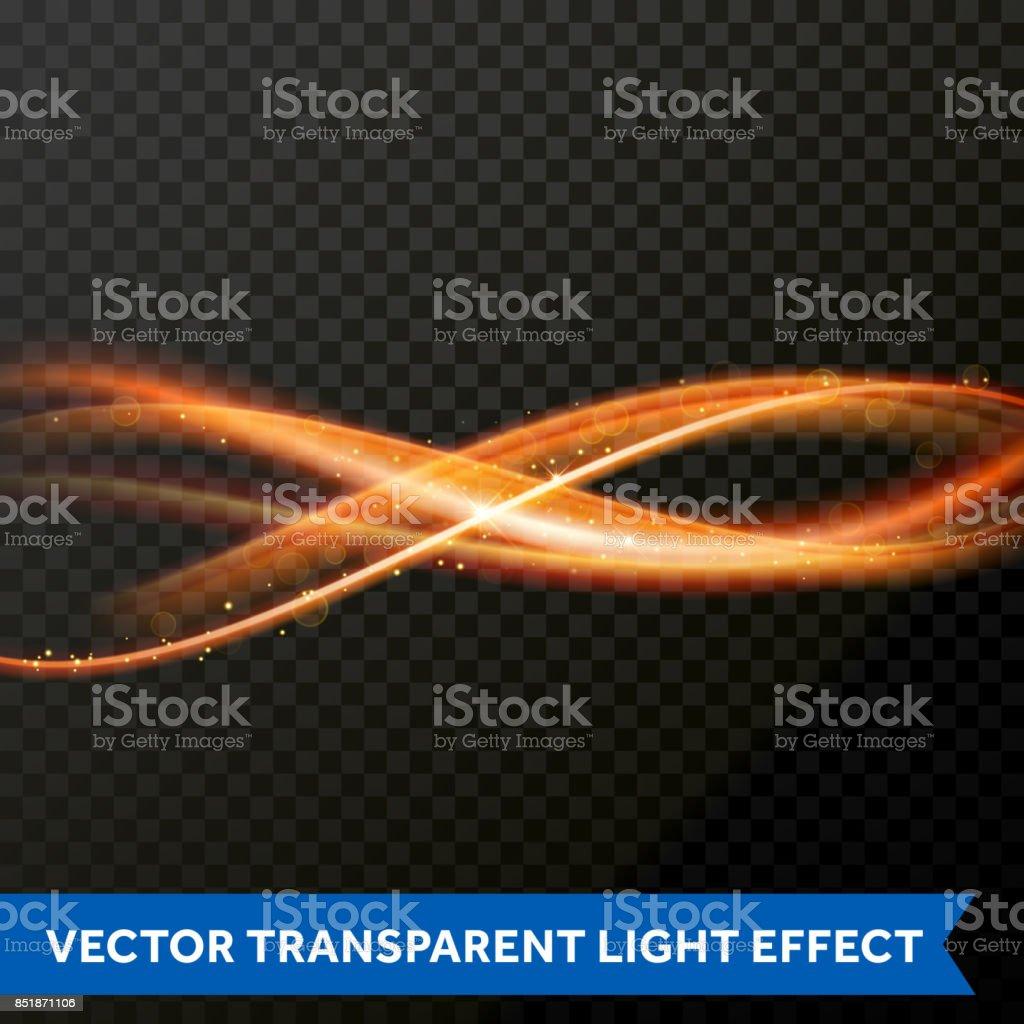 Vector Light Effect Of Line Gold Swirl Glowing Light Fire