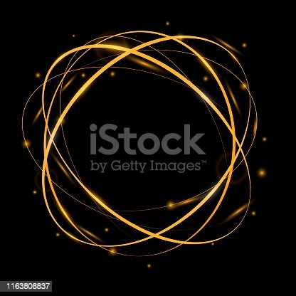 Vector light frame with golden sparkles, abstract glowing rings, golden neon circles, luminous design element. Magic shiny motion effect, 3d luxury round template for promo, sale, new year card, jewel