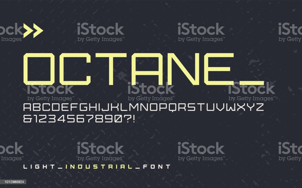 Vector Light Industrial Style Display Font Modern Blocky Typeface