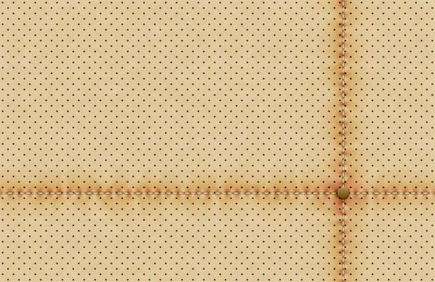 vektor leicht perforiertem leder textur wallpaper. realistische perforierte hintergrund mit nählinie und nieten. beige gepunktete muster. autositz-material-design - lederverarbeitung stock-grafiken, -clipart, -cartoons und -symbole
