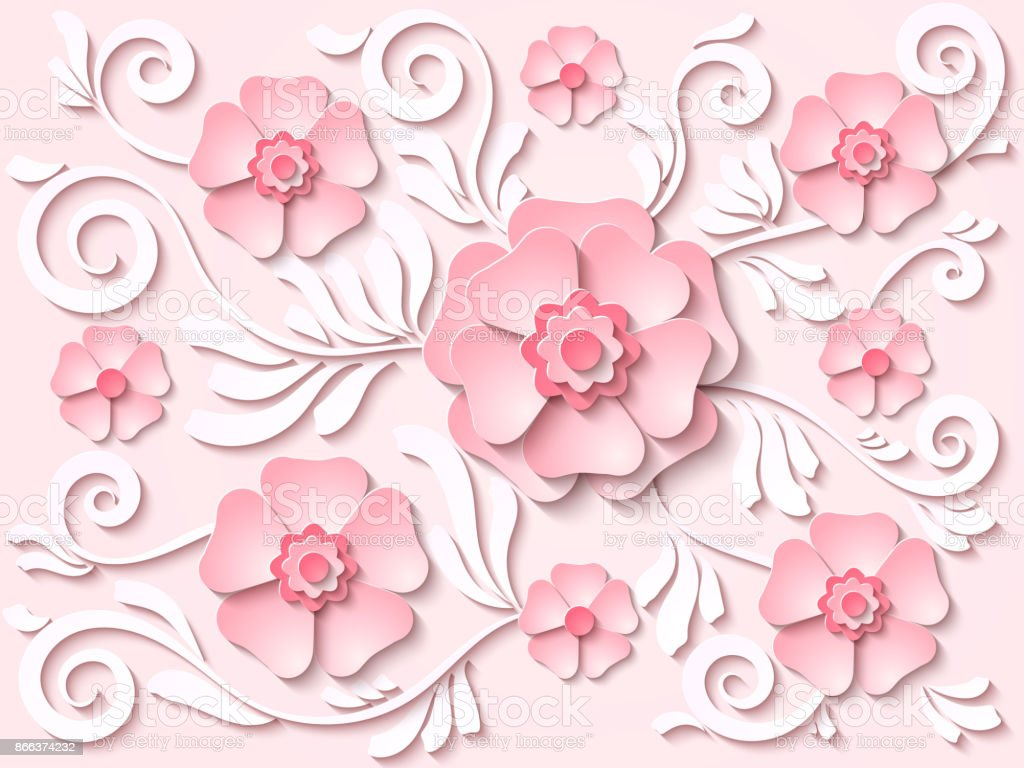 Vektör hafif pembe kağıt çiçek ve yaprakları çiçek arka plan kesmek vektör sanat illüstrasyonu