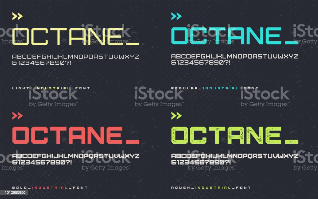Vector light regular bold and rough industrial style display font, blocky typeface, futuristic uppercase letters and numbers, alphabet. royalty-free vector light regular bold and rough industrial style display font blocky typeface futuristic uppercase letters and numbers alphabet stock illustration - download image now