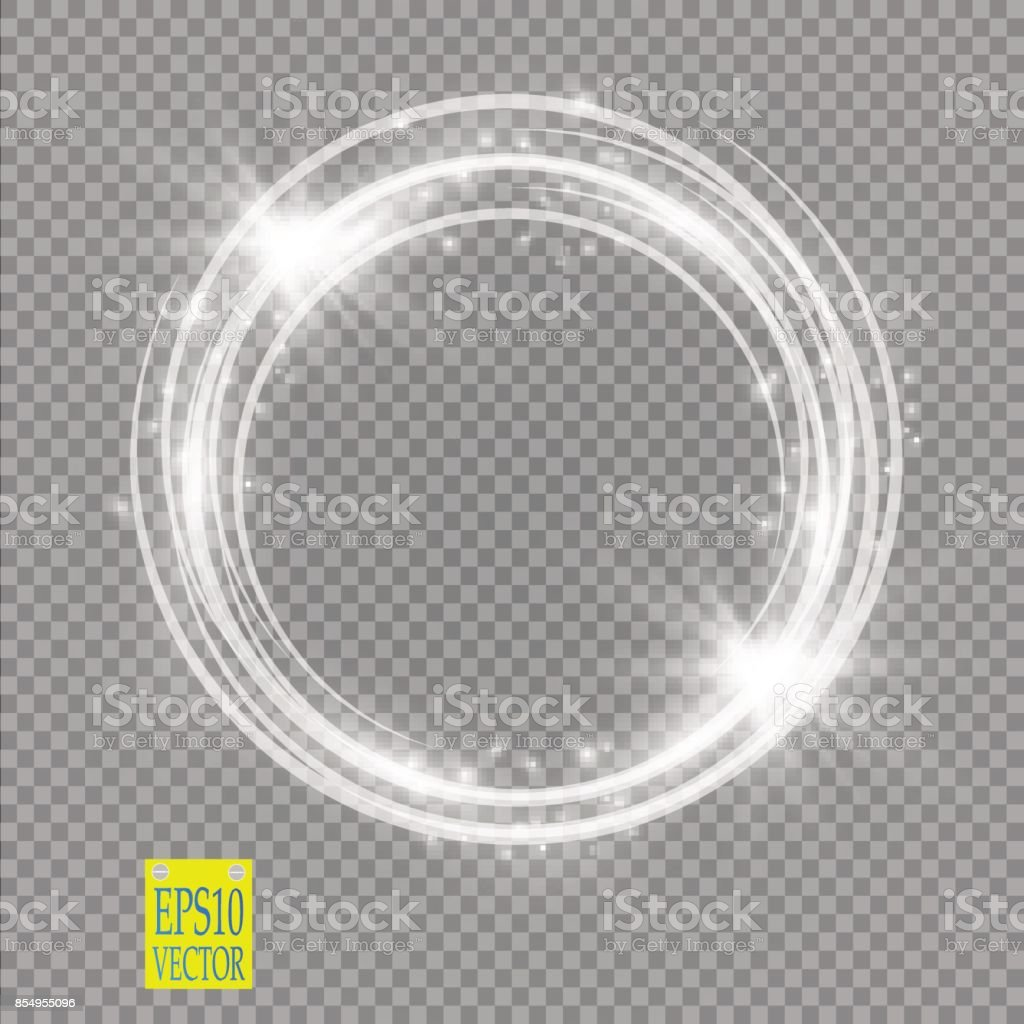 Vector light ring. Round shiny frame with lights dust trail particles isolated on transparent background vector art illustration