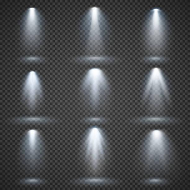 Vector light sources, concert lighting, stage spotlights set Vector light sources, concert lighting, stage spotlights set. Concert spotlight with beam, illuminated spotlights for web design illustration flashlight stock illustrations