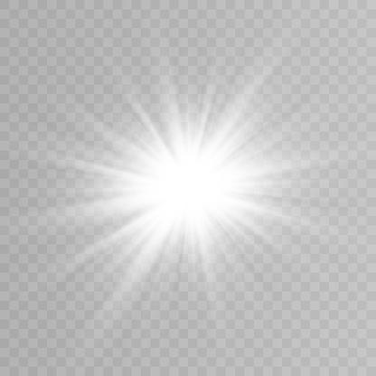 Vector light, sun, rays. Sunrise. A bright flash of light. The lights of a sun. Vector illustration.