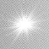 istock Vector light, sun, rays. Sunrise. A bright flash of light. The lights of a sun. Vector illustration. 1283758825