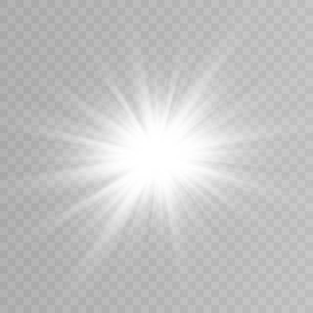 vektorlicht, sonne, strahlen. sonnenaufgang. ein heller lichtblitz. die lichter einer sonne. leichte png. vektor-illustration. - blendenfleck stock-grafiken, -clipart, -cartoons und -symbole