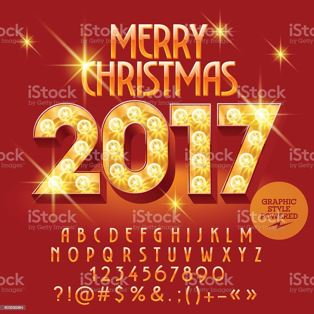Vector Light Up Bright Merry Christmas 2017 Greeting Card Stock