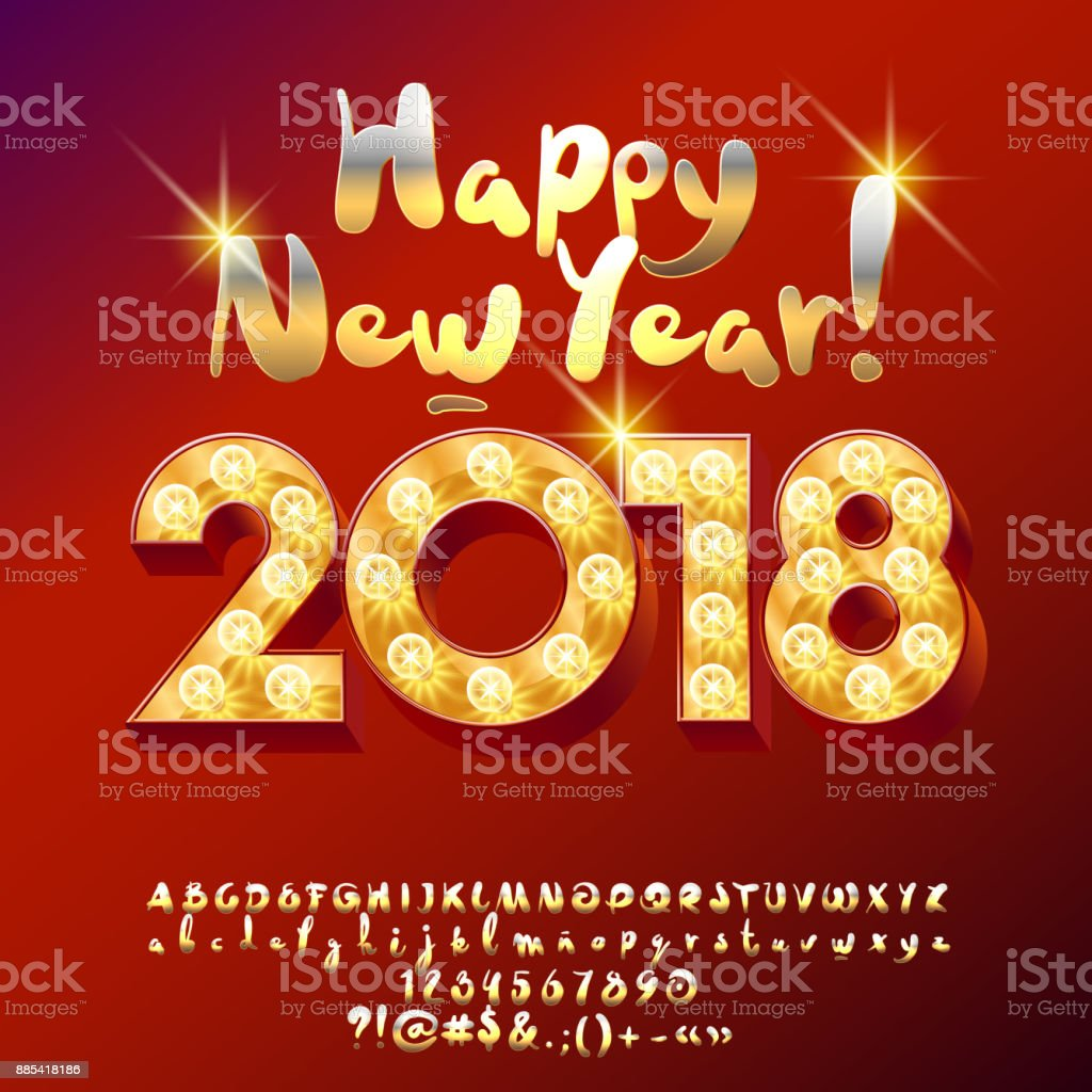 Vector light up happy new year 2018 greeting card stock vector art vector light up happy new year 2018 greeting card royalty free vector light up happy m4hsunfo