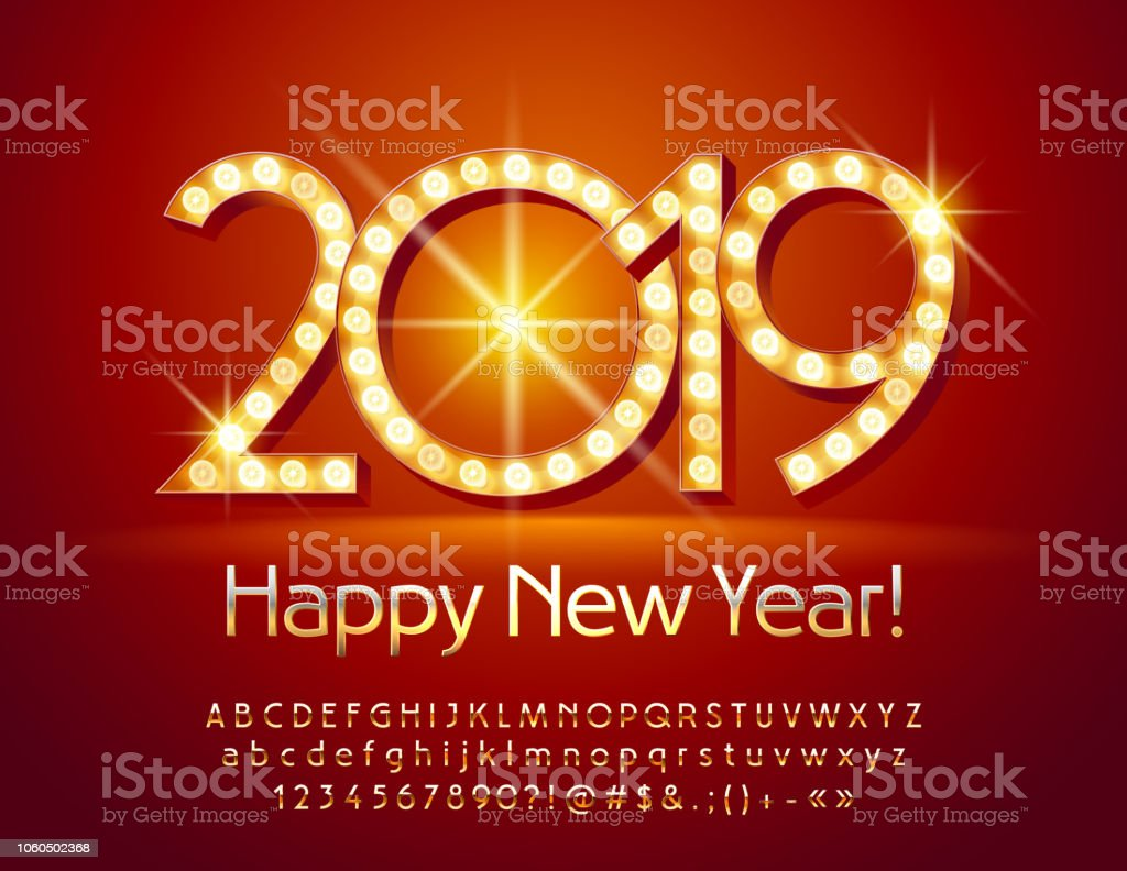 Vector Light Up Happy New Year 2019 Greeting Card With Golden