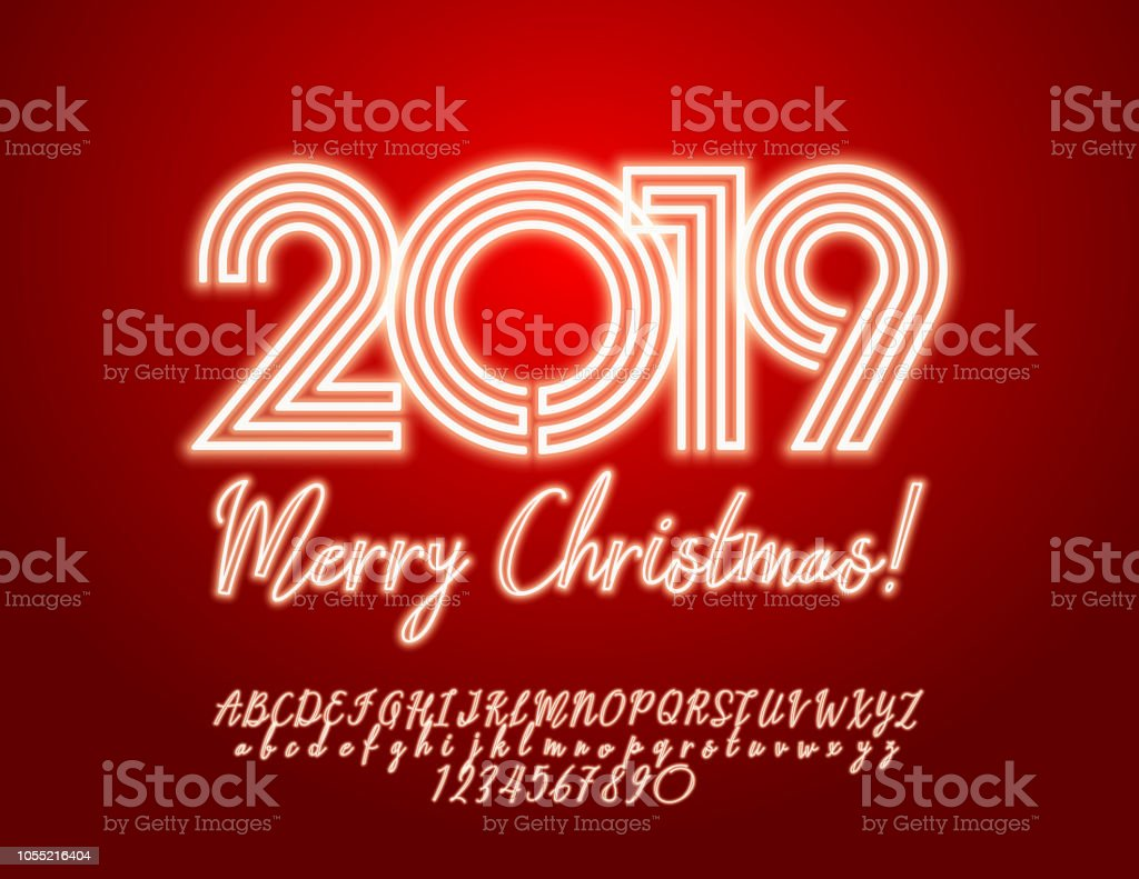 Vector Light Up Merry Christmas 2019 Greeting Card With Alphabet