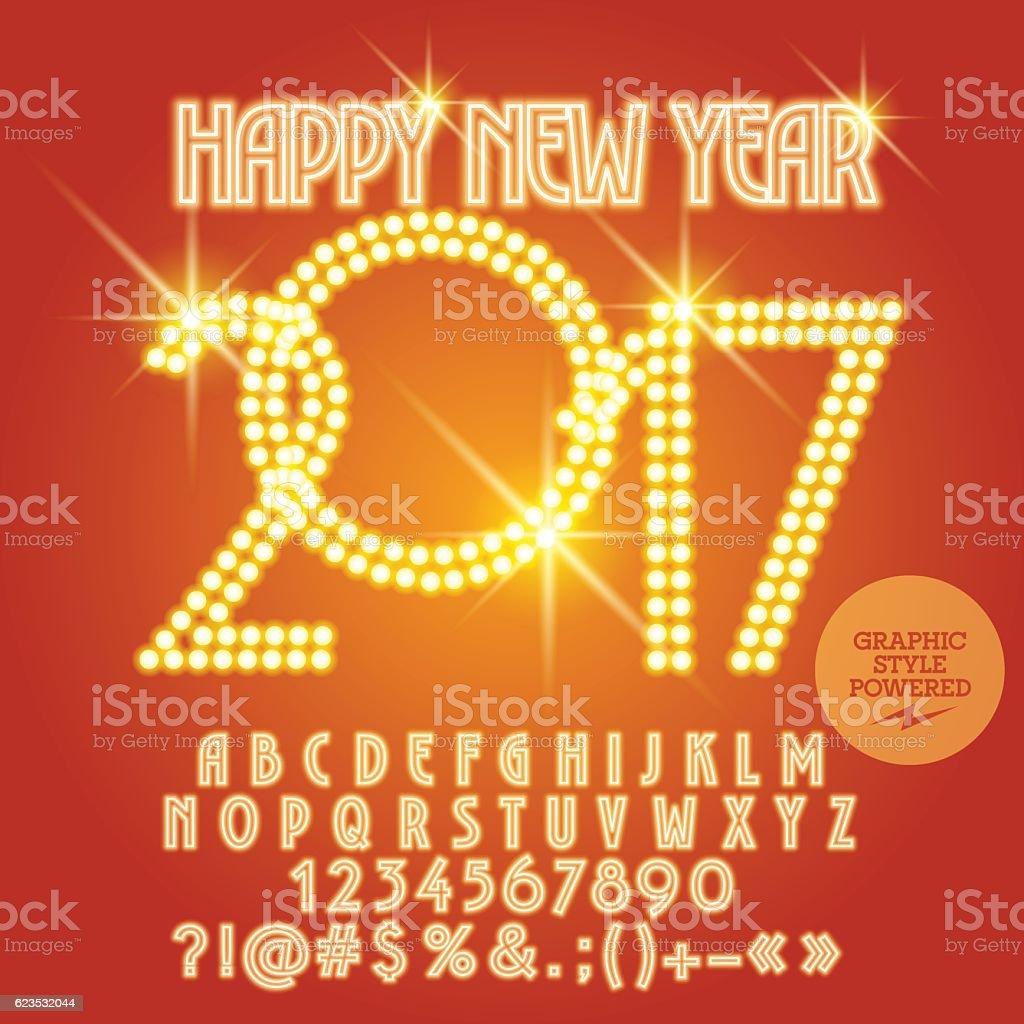 Vector Light Up Orange Happy New Year 2017 Greeting Card Stock