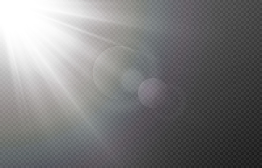 Vector light with glare. Sun, sun rays, dawn, glare from the sun png. White flare png, glare from flare png.