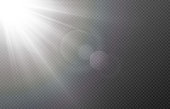 istock Vector light with glare. Sun, sun rays, dawn, glare from the sun png. White flare png, glare from flare png. 1296913640