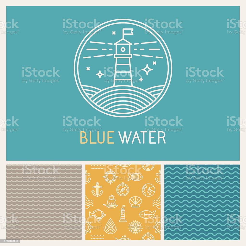 Vector lighthouse badge and logo in trendy linear style vector art illustration