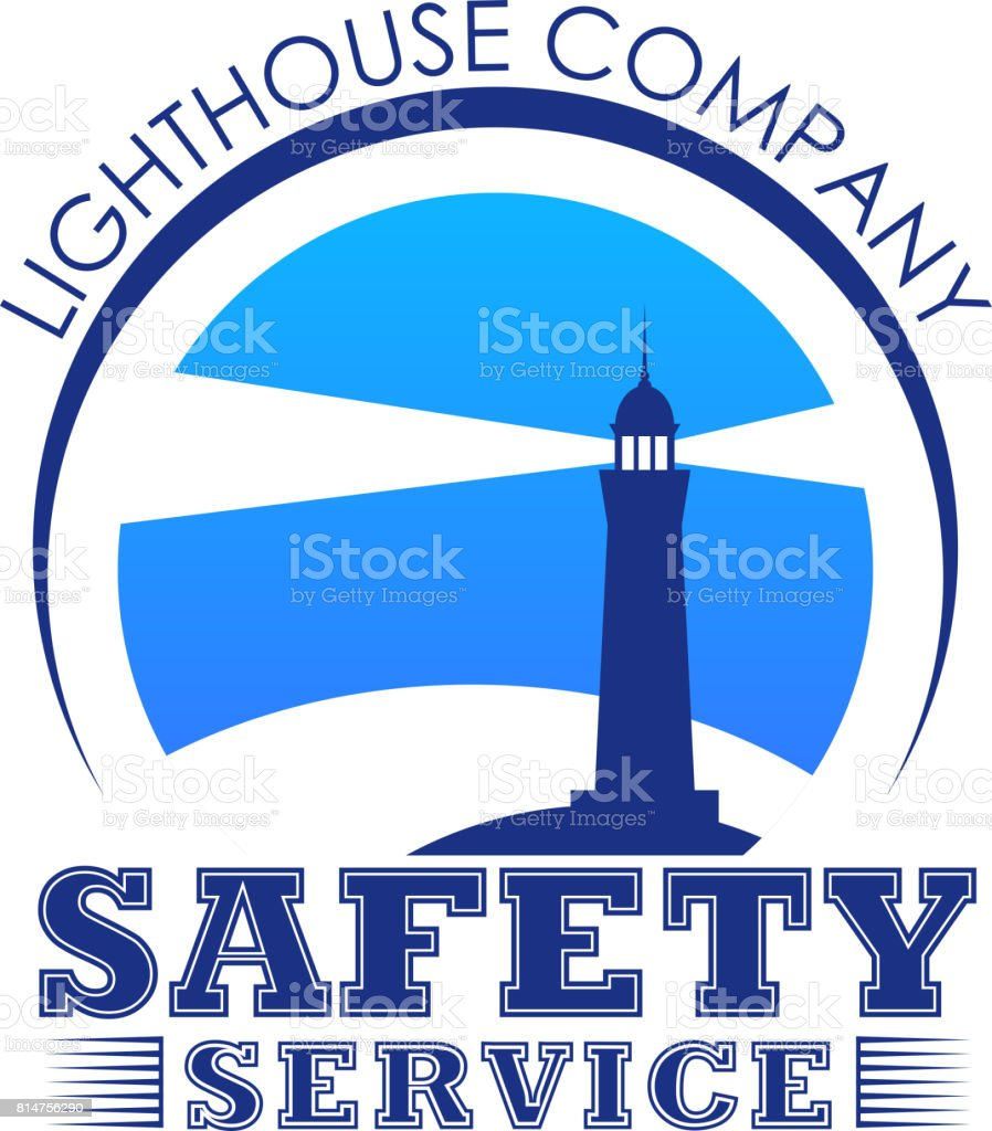 Vector lighthouse icon for safety marine service vector art illustration