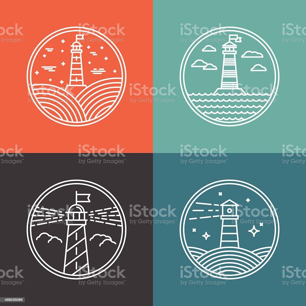 Vector lighthouse logos vector art illustration