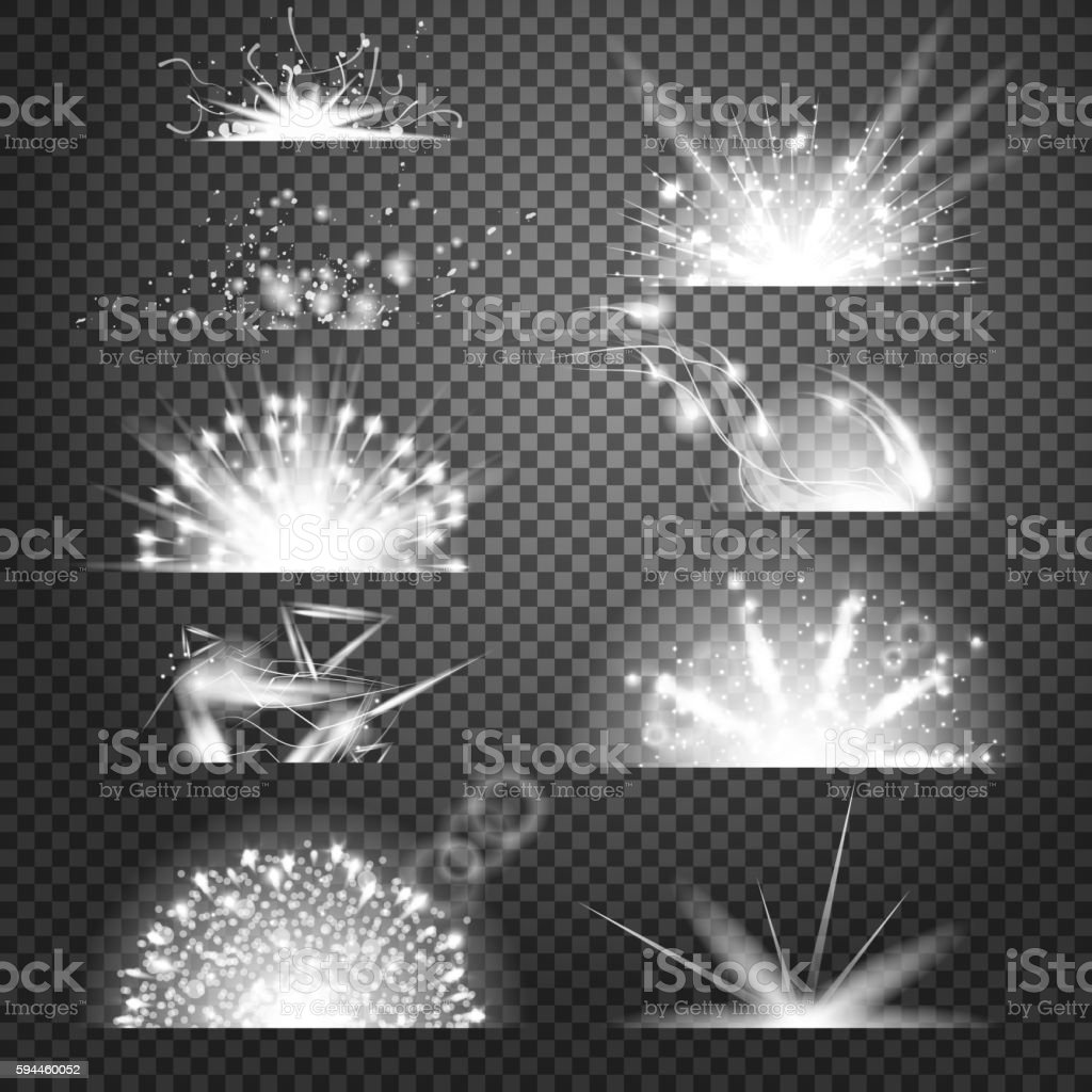 Vector lighting effects set of glints on transparent like background royalty free vector lighting