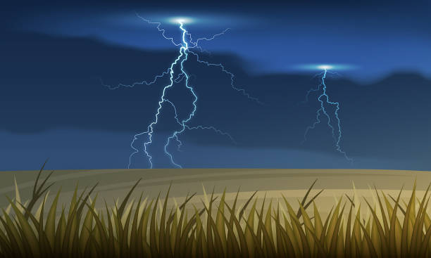 vector lightning and thunderstorm over the country autumn field. - storm stock illustrations, clip art, cartoons, & icons