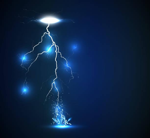 Vector lightning background Illustration of sparkling lightning bolt with electric effect forked lightning stock illustrations