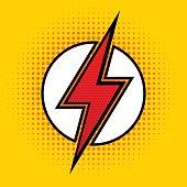 Vector lightning in pop art style. Sign of superhero.