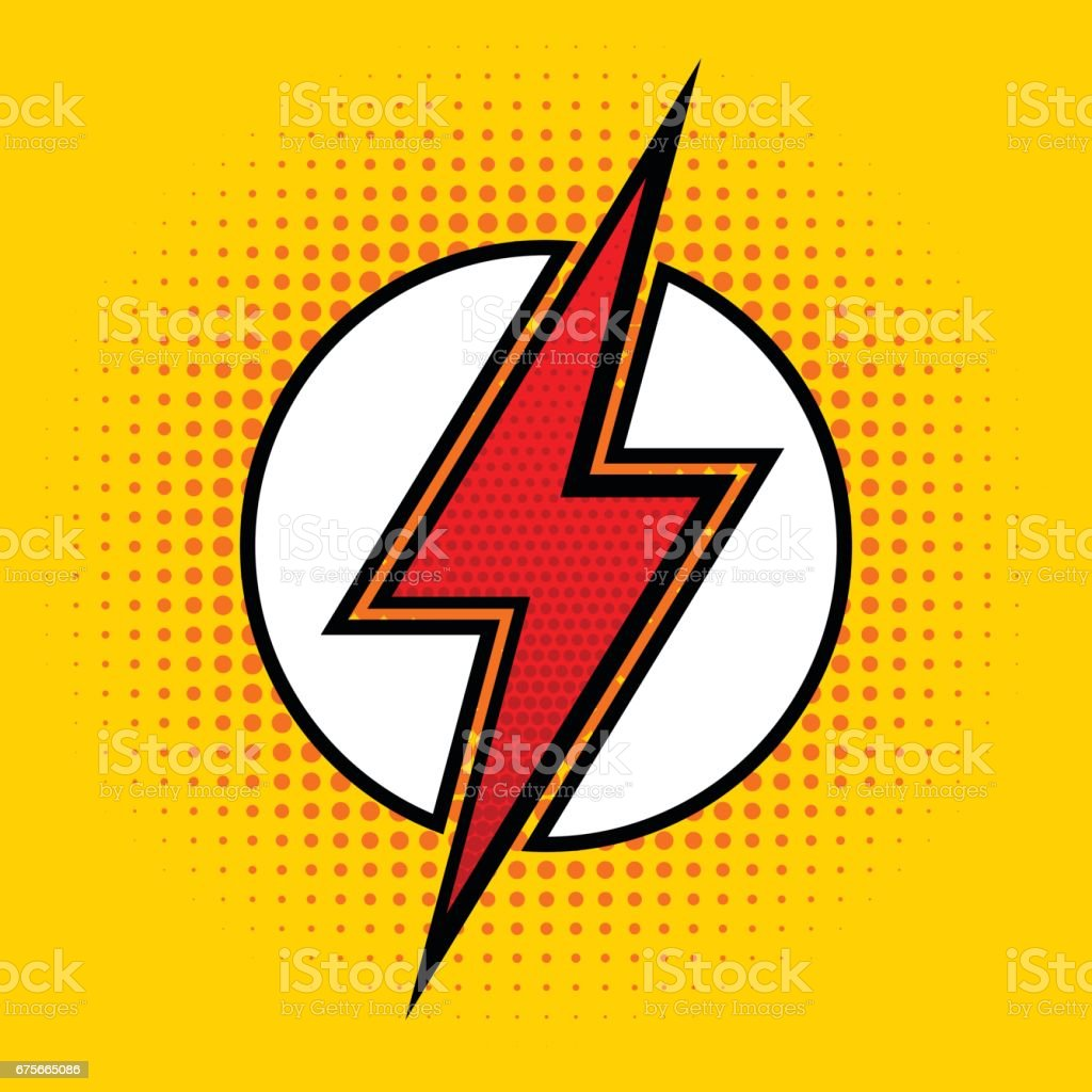 Vector lightning in pop art style. Sign of superhero. vector art illustration