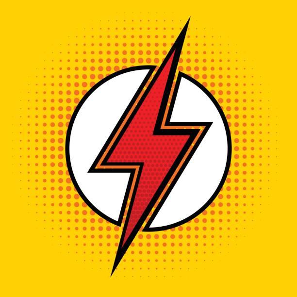 vector lightning in pop art style. sign of superhero. - superhero stock illustrations, clip art, cartoons, & icons