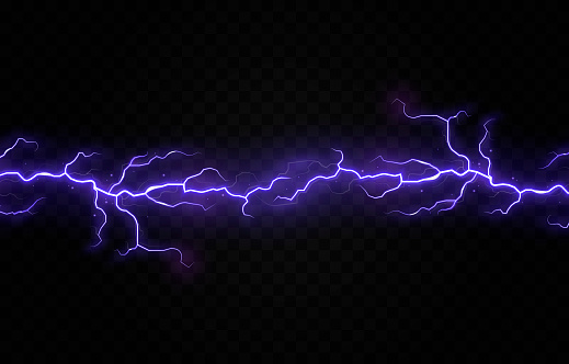 Vector lightning, lightning png, thunderstorm, lighting. Natural phenomenon, light effect. PNG.